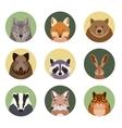 set of flat animal icons vector image