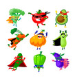 set vegetables in super hero costume funny vector image