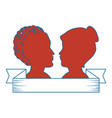 silhouette of womens heads icon vector image vector image