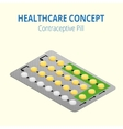 Strip of 28 Contraceptive Pill Flat 3d vector image