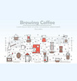 thin line art brewing coffee poster banner vector image vector image