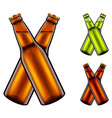 two clinking beer bottles 3d realistic set vector image