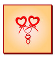 two red hearts with bows on springs in a gradient vector image