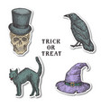 vintage style halloween stickers bundle hand vector image