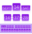 violet flat countdown timer with numbers and vector image vector image