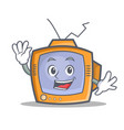 waving tv character cartoon object vector image vector image