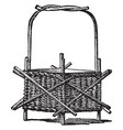 wicker-work jardiniere used to hold decorative vector image vector image