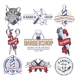 Collection badges logos with barbershop tools vector image