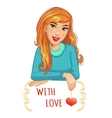 Cute cartoon blond girl with red heart and message vector image