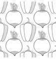 seamless black and white pattern with beets and vector image