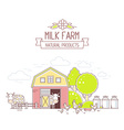 Agribusiness of colorful milk farm life with vector image