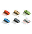 army military vehicles isometric set vector image vector image