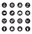 black flat beach and summer icon set vector image vector image