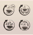 black tea time symbols set vector image