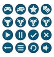 Blue flat game icons set vector image