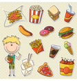 Boy With Fast Food vector image vector image