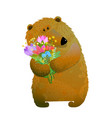 brown bear holding bunch of flowers vector image