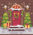 brown decorated christmas porch with fir trees vector image