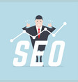 businessman thumbs up with seo text vector image vector image