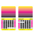 calendar grid july august vector image vector image