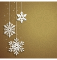 Christmas background with hanging snowflakes vector image vector image