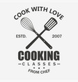 cooking symbol cook emblem food masterclass vector image vector image