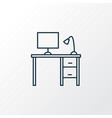 desk icon line symbol premium quality isolated vector image