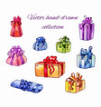 different gifts in a bright package with colored vector image