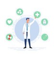 doctor surrounded with healthcare icons vector image