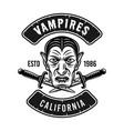 dracula head emblem badge or t-shirt print vector image