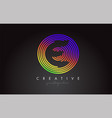 e letter logo design with colorful rainbow vector image