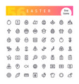 easter line icons set vector image