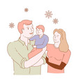 family mother father son isolated characters love vector image