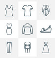fashion icons line style set with cardigan bikini vector image vector image