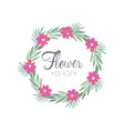 flower shop colorful logo template with wreath vector image vector image