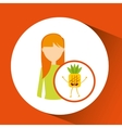 girl cartoon and pineapple cute fruit icon vector image vector image
