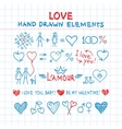 Hand drawn love elements vector image vector image