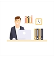 Happy Man Office Worker In Office Cubicle Having vector image vector image