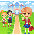 Happy smiling schoolchildren girls and boy vector image vector image