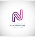 letter n purple line logo vector image