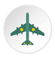 Military aircraft with missiles icon circle vector image