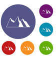 mountains icons set vector image vector image