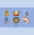 native american indian symbols set ethnic design vector image