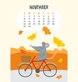november calendar page with cute rat riding vector image vector image