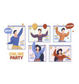 online party happy people celebrated at video vector image