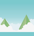 origami paper mountains clouds sky background vector image