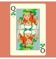 Red-haired elphicke playing card Queen St Patrick vector image