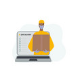 safe delivery man courier character laptop concept vector image