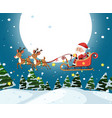 santa riding sleigh christmas template vector image