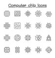 set computer chip related line icons contains vector image